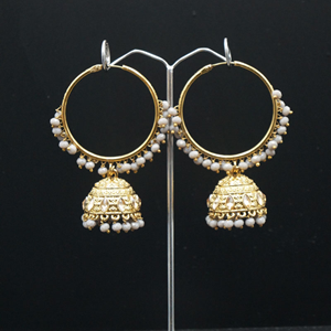 Aruna- Grey Hoop) Bali Earrings -AntiqueGold