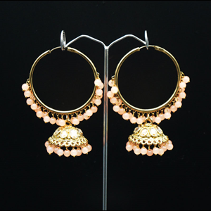 Sahas- Peach (Hoop) Bali Earrings -AntiqueGold