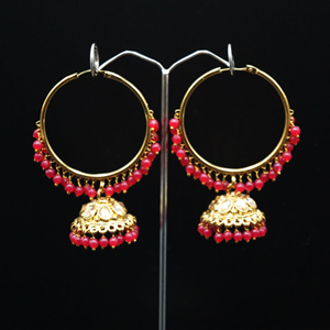 Sahas- Pink (Hoop) Bali Earrings -AntiqueGold