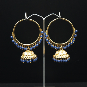 Sahas- Blue  (Hoop) Bali Earrings -AntiqueGold