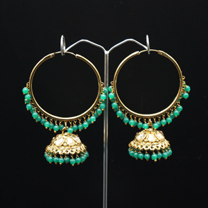 Sahas-  Green  (Hoop) Bali Earrings -AntiqueGold