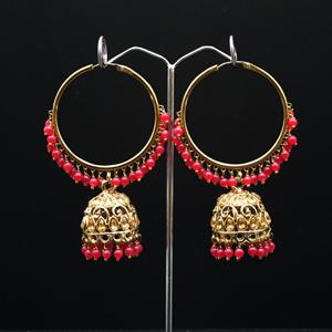 Libni - Pink (Hoop) Bali Earrings -AntiqueGold