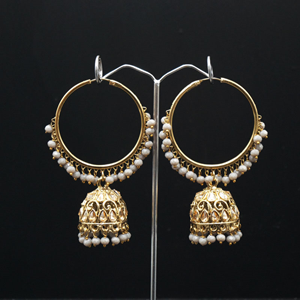 Libni - Grey (Hoop) Bali Earrings -AntiqueGold