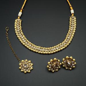 Moksin-Gold Polki Stone  Necklace set - Antique Gold