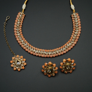 Moksin-Gold Polki Stone/Peach Bead Necklace set - Antique Gold