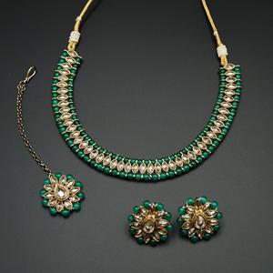 Moksin-Gold Polki Stone/Green Bead Necklace set - Antique Gold