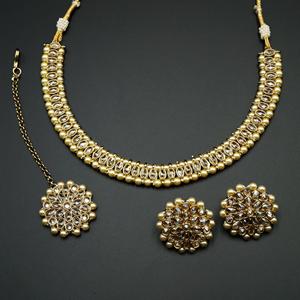 Shayna -Gold Polki Stone Necklace set - Antique Gold