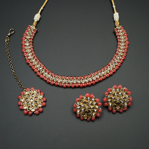 Shayna-Gold Polki Stone/ Coral Bead Necklace set - Antique Gold