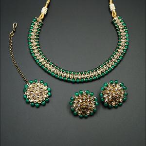 Shayna-Gold Polki Stone/ Green Bead Necklace set - Antique Gold