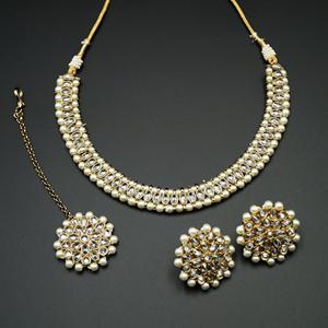 Shayna -White Polki Stone Necklace set - Antique Gold