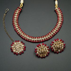 Shayna-Gold Polki Stone/ Maroon Bead Necklace set - Antique Gold
