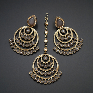 Kritu- Grey / Gold Diamante Earrings Tikka set  - Gold