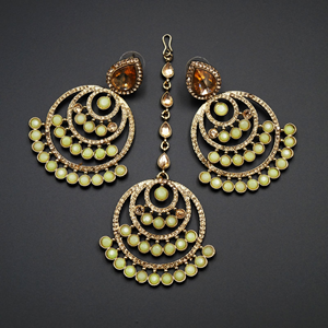 Kritu- Mint / Gold Diamante Earrings Tikka set  - Gold