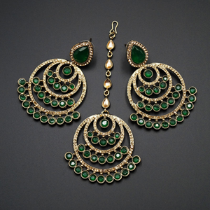 Kritu- Green/ Gold Diamante Earrings Tikka set  - Gold