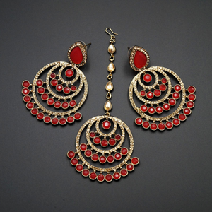 Kritu- Coral/ Gold Diamante Earrings Tikka set  - Gold