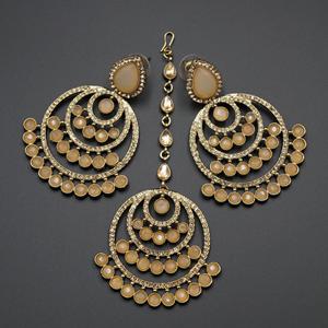 Kritu- Nude/ Gold Diamante Earrings Tikka set  - Gold