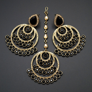 Kritu- Black/ Gold Diamante Earrings Tikka set  - Gold