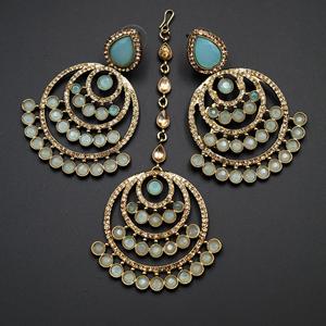 Kritu- Blue / Gold Diamante Earrings Tikka set  - Gold