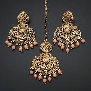 Monl- Light Peach/Gold Diamante Earring Tikka Set - Gold