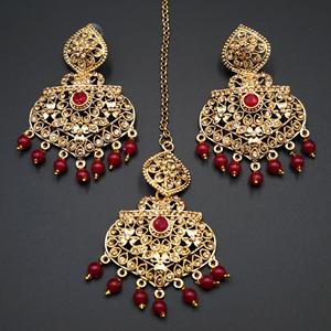 Monl- Pink/Gold Diamante Earring Tikka Set - Gold