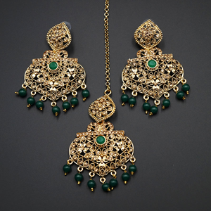 Monl- Green/Gold Diamante Earring Tikka Set - Gold