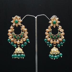 Misri - Gold Kundan  & Dark Green Beads Earrings - Antique Gold