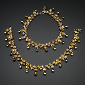 Megan- Gold Diamante Ghungroo Payals - Antique Gold
