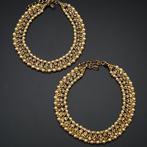 Leora- Gold Diamante Payals - Antique Gold