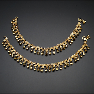 Richa - Gold Diamante Payals - Antique Gold