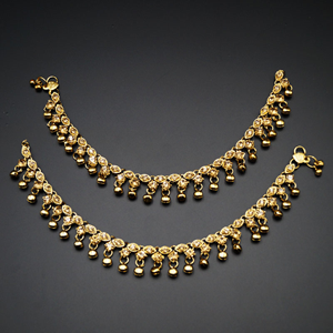 Shanti -Gold Diamante Ghungroo Payals - Antique Gold