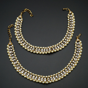 Jayan- White Diamante Payals - Antique Gold