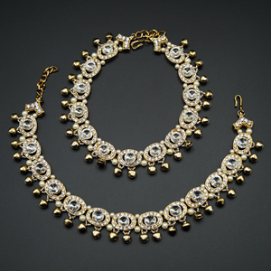 Yasti- White Diamante Payals - Antique Gold