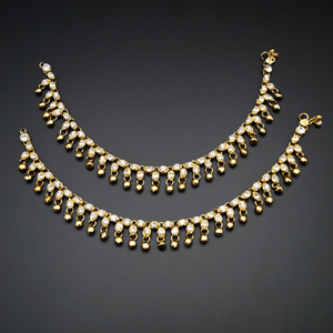 Shanti -WhiteDiamante Ghungroo Payals - Antique Gold