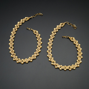 Roop -Gold Diamante Payals - Antique Gold