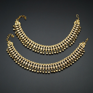 Navaj -Gold Diamante Ghungroo Payals - Antique Gold