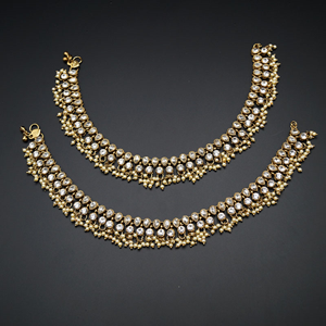 Teena- White Diamante Payals - Antique Gold
