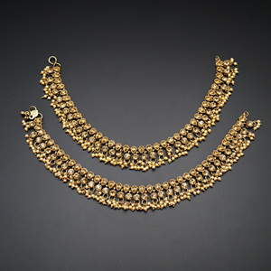 Teena- Golc Diamante Payals - Antique Gold