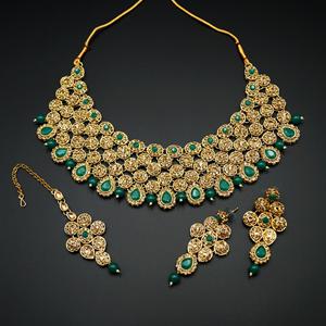 Svara- Green/Gold Diamante Necklace Set -Gold