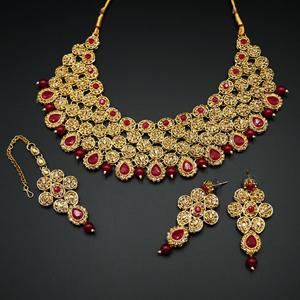 Svara- Pink/Gold Diamante Necklace Set -Gold