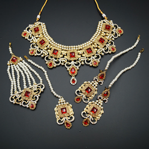 Shashi  - Red/ Gold -White Diamante Necklace Set - Gold