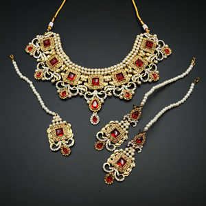 Riddhi - Red/ Gold -White Diamante Necklace Set - Gold