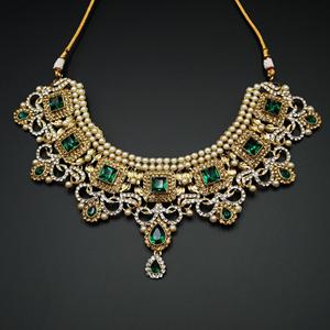 Shashi - Green/ Gold -White Diamante Necklace Set - Gold
