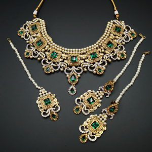 Ridhi - Green/ Gold -White Diamante Necklace Set - Gold
