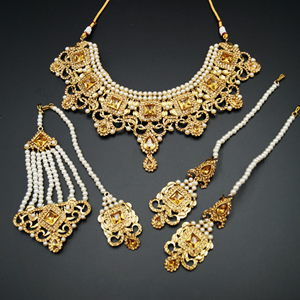 Shashi - Gold Diamante Necklace Set - Gold