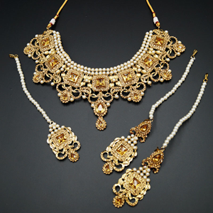 Ridhi - Gold Diamante Necklace Set - Gold