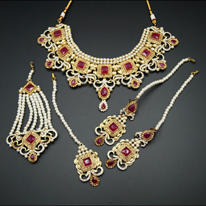 Shashi- Pink/ Gold -White Diamante Necklace Set - Gold