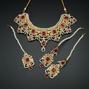 Ridhi  - Pink/ Gold -White Diamante Necklace Set - Gold