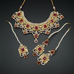 Ridhi  - Pink/ Gold -White Diamante Necklace Set - Gold