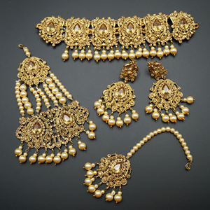 Guna - Gold Diamante Necklace Set - Gold