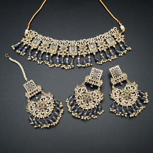Rimi-Grey/White Polki Choker Set - Antique Gold